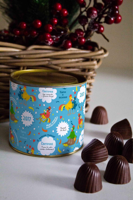 Банка шоколадных конфет с Вашим именем Подарок на год петухаСувениры и упаковка<br>Банка шоколадных конфет с Вашим именем, 130г (8 конфет ассорти). Размер банки: 9*10см.<br>