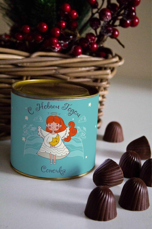 Банка шоколадных конфет с Вашим именем АнгелСувениры и упаковка<br>Банка шоколадных конфет с Вашим именем, 130г (8 конфет ассорти). Размер банки: 9*10см.<br>
