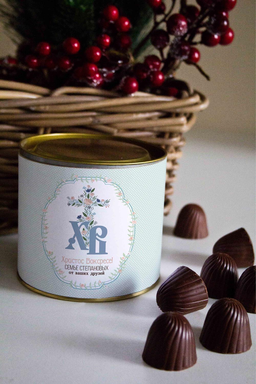 Банка шоколадных конфет с Вашим именем Традиционная ПасхаСувениры и упаковка<br>Банка шоколадных конфет с Вашим именем, 130г (8 конфет ассорти). Размер банки: 9*10см.<br>