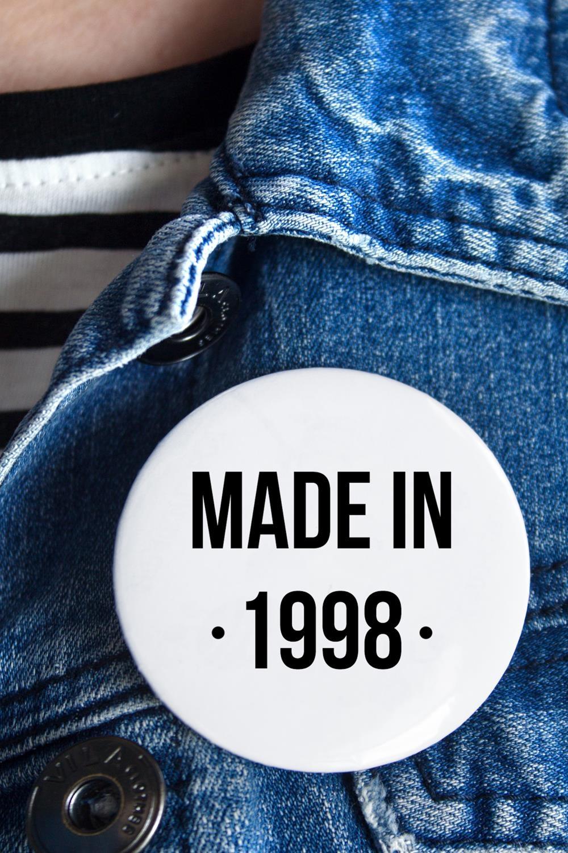 Значок с Вашим текстом Made inСувениры на День рождения<br>Значок на булавке с Вашим текстом, Д=56мм<br>