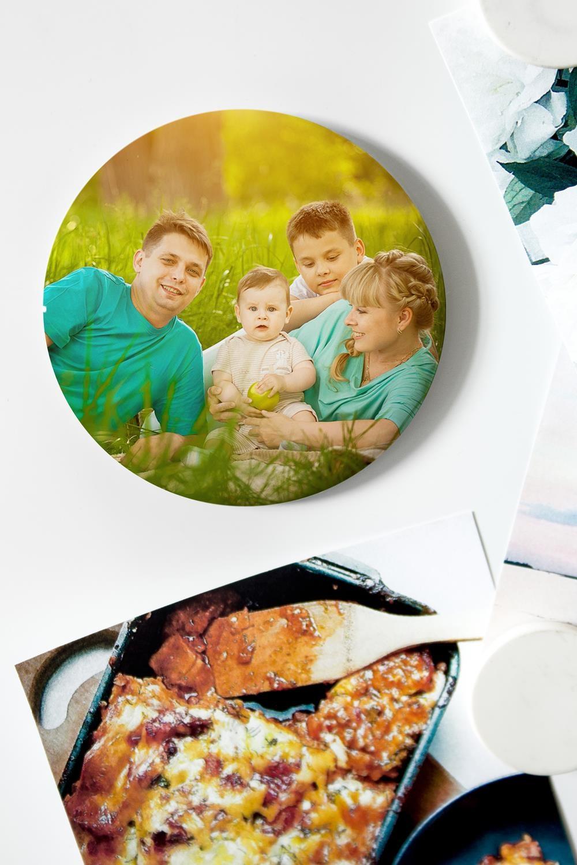Магнит с Вашим фото Наше фотоСувениры и упаковка<br>Магнит круглый с Вашим фото, Д=75мм, металл<br>