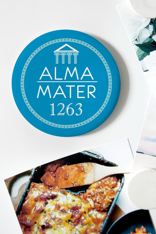 Магнит с Вашим текстом My Alma materМагниты<br>Магнит круглый с Вашим текстом, Д=75мм, металл<br>