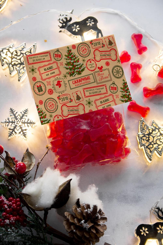 Мармелад  с Вашим текстом Новогодние штампыПодарки для малышей и новорожденных<br>Мармелад-кости, 200г, красные, с нанесением персонального текста<br>