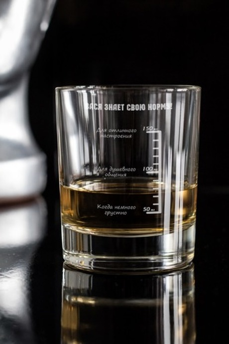 Стакан для виски с именной гравировкой Шкала отличного настроенияПосуда<br>Отличный подарок другу, коллеге, начальнику. Размер: 220мл, высота=8.7см. Материал: стекло.<br>