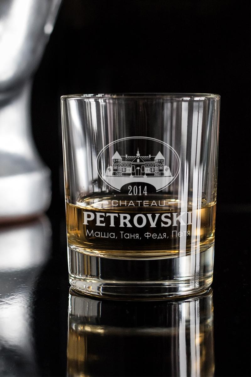 Стакан для виски с вашим текстом ChateauКружки и бокалы<br>Отличный подарок на День Рожденья другу, коллеге, начальнику. Впишите имя именинника и возраст. Размер: 220мл, высота=8.7см. Материал: стекло.<br>
