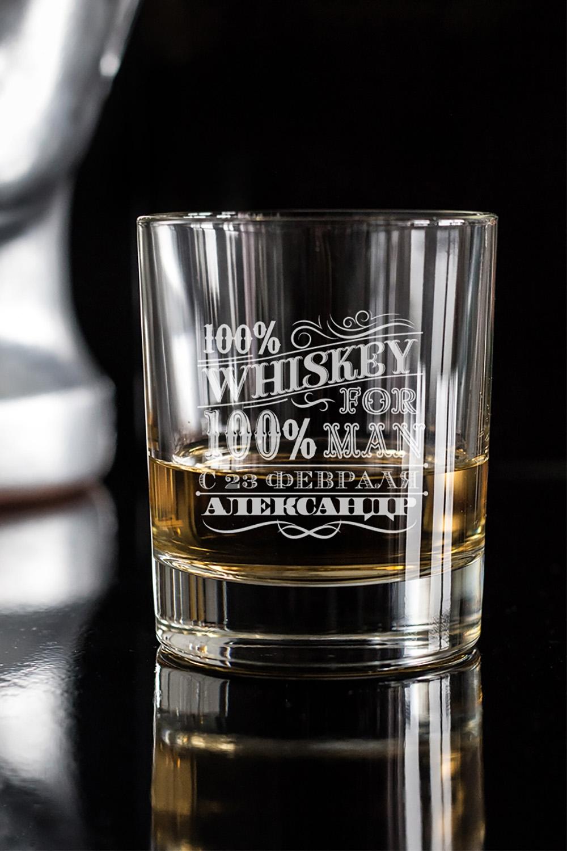 Стакан для виски с вашим текстом 100% manПодарки на 23 февраля<br>Отличный подарок на День Рождения другу, коллеге, начальнику. Впишите имя именинника и возраст. Размер: 220мл, высота=8.7см. Материал: стекло.<br>