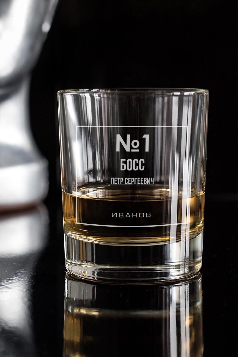 Стакан для виски с вашим текстом Номер одинПодарки начальнику/шефу<br>Отличный подарок на День Рожденья другу, коллеге, начальнику. Впишите имя именинника и возраст. Размер: 220мл, высота=8.7см. Материал: стекло.<br>