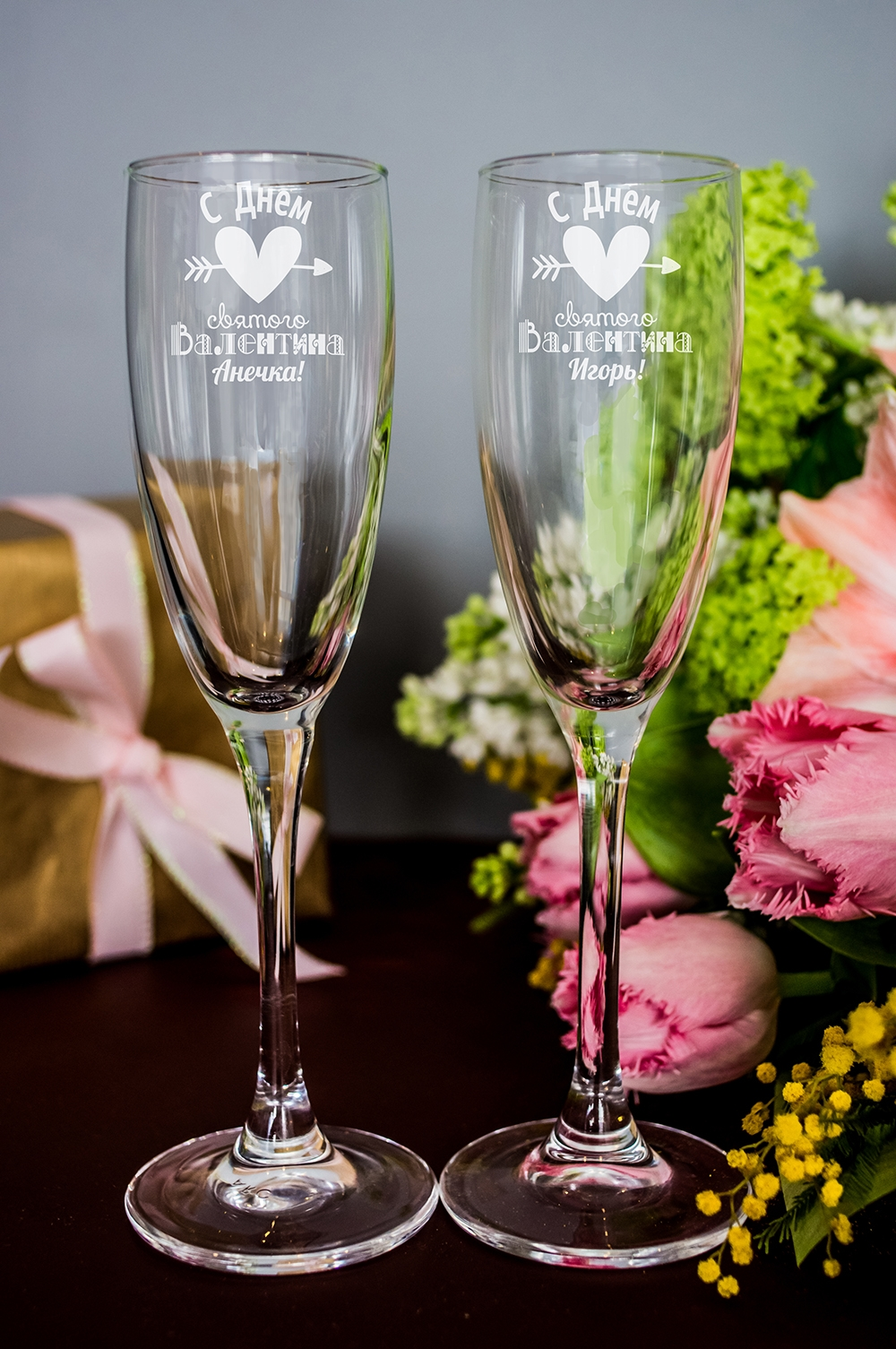 Набор бокалов для шампанского с вашим текстом (длинные) Ко Дню Св. ВалентинаПодарки на 14 февраля<br>Размер: 170мл, Выс=22.5см. Материал: стекло<br>