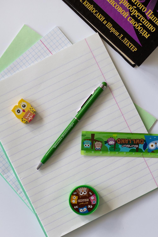 Ручка с нанесением текста Яркие краскиУчеба и работа<br>Ручка шариковая с нанесением текста (зелёная), синие чернила<br>