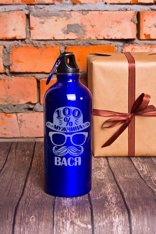 Фляжка для напитков с Вашим текстом Настоящий мужчинаТермосы и термокружки<br>Фляжка именная, 600мл, цвет: синий, материал: сталь<br>