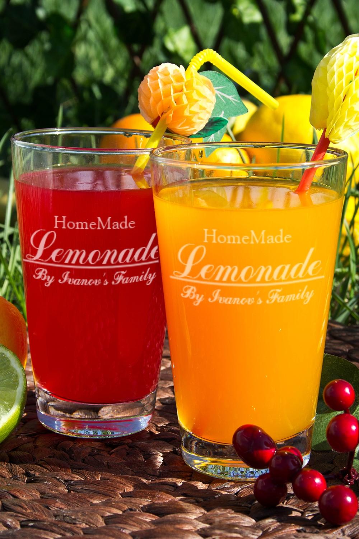 Бокалы для лимонада с именной гравировкой Homemade LemonadeКружки и бокалы<br>Набор бокалов для лимонада с именной гравировкой, 2 предм., 400мл, выс.13см.<br>