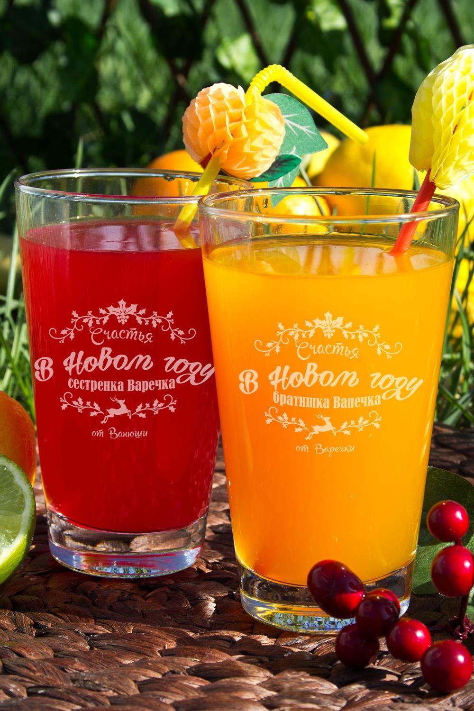 Набор новогодних бокалов для лимонада с Вашим именем Счастья в новом годуПосуда<br>Набор бокалов для лимонада с Вашим именем, 2 предм., 400мл., высота 13 см.<br>