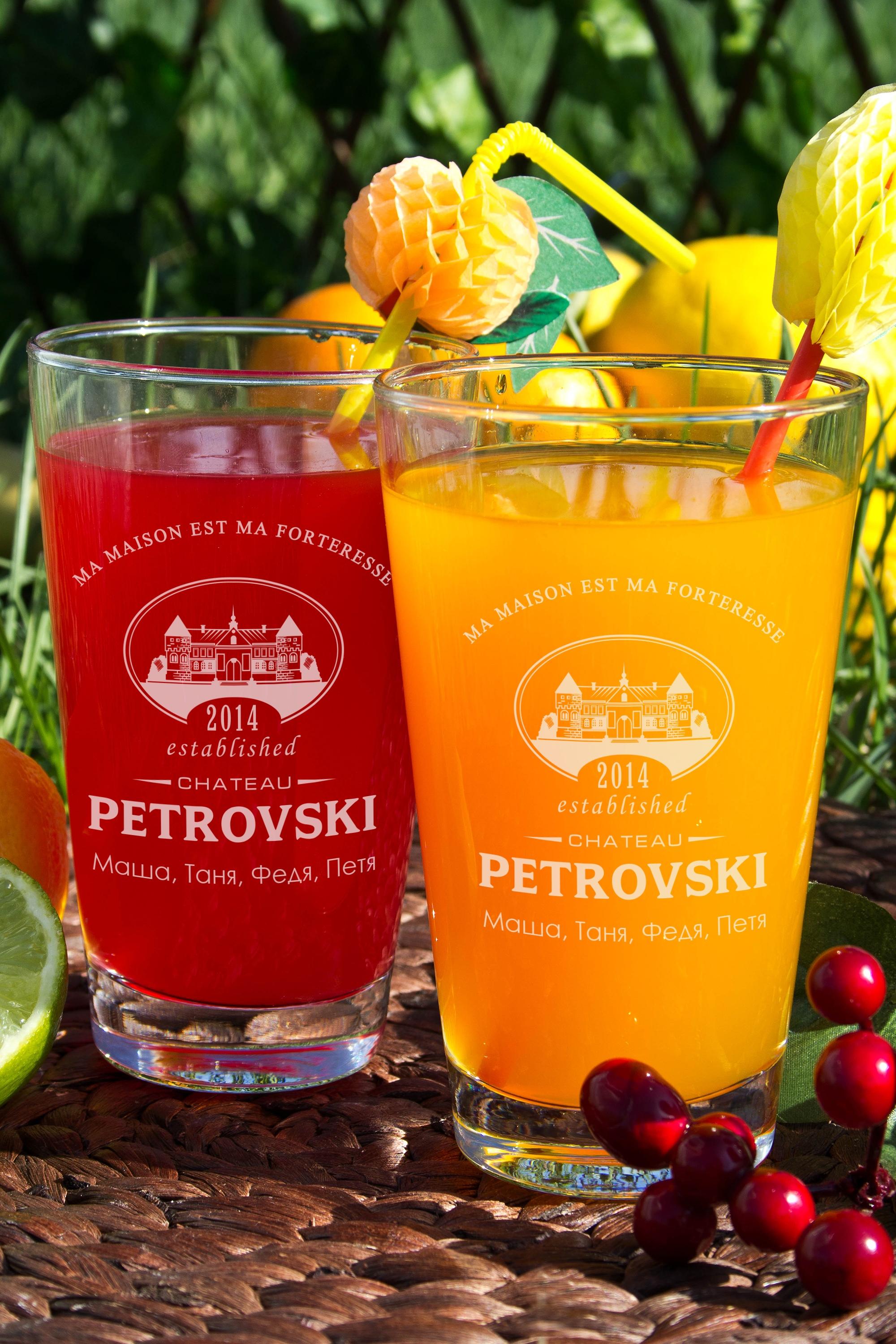 Набор бокалов для лимонада с Вашим именем ChateauПосуда<br>Набор бокалов для лимонада с Вашим именем, 2 предм., 400мл., высота 13 см.<br>