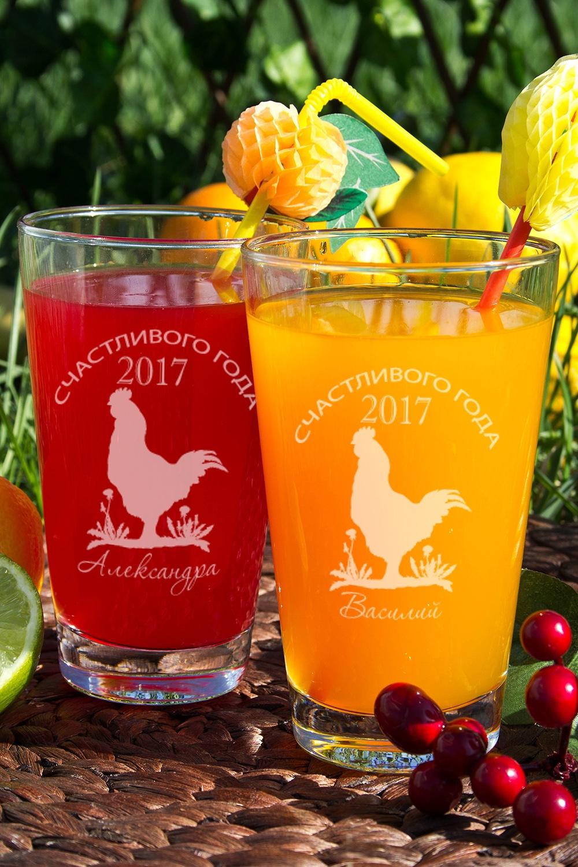 Набор бокалов для лимонада с Вашим именем Кантри годКружки и бокалы<br>Набор бокалов для лимонада с Вашим именем, 2 предм., 400мл., высота 13 см.<br>