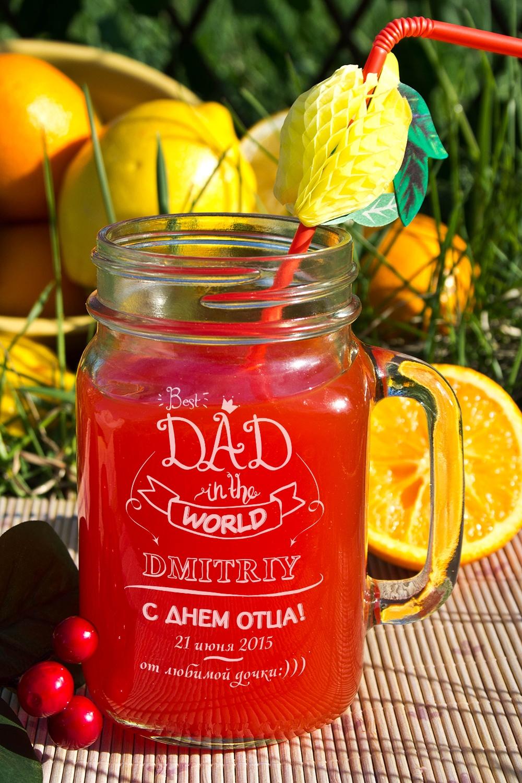 Кружка-банка с Вашим текстом Mason Jar Best dadКружки<br>Оригинальная кружка в форме банки с Вашим именем, 488мл, Высота=13см, материал: стекло<br>