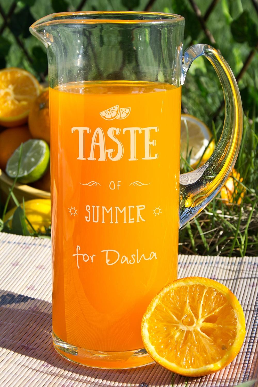 Кувшин с Вашим текстом Taste of summerПосуда<br>Кувшин с  Вашим именем, 1.2л., высота 24 см, материал: стекло<br>
