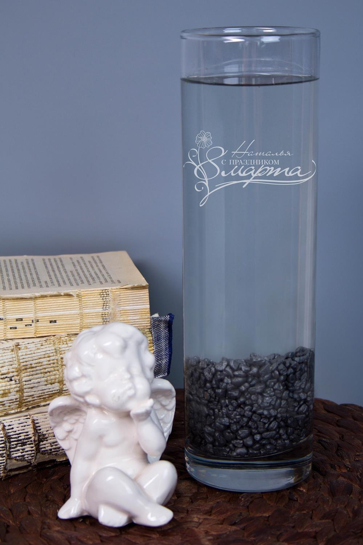 Ваза для цветов с именной гравировкой 8 мартаИнтерьер<br>Приподнесите дорогому человеку букет в красивой вазе с персональной гравировкой. Материал: стекло. Высота 26,5см.<br>