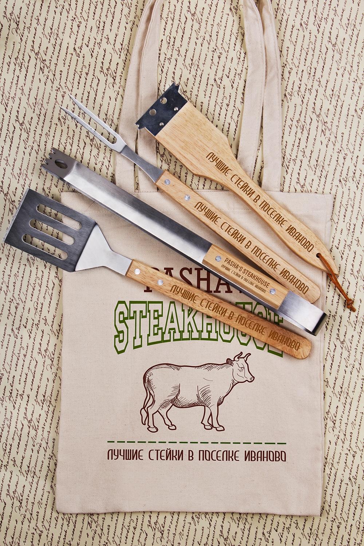 Набор для гриля с Вашим текстом Steak HouseДача и Путешествия<br>Набор для гриля с Вашим именем, 5 предметов (щетка-скребок, щипцы, лопатка, вилка, сумка)<br>