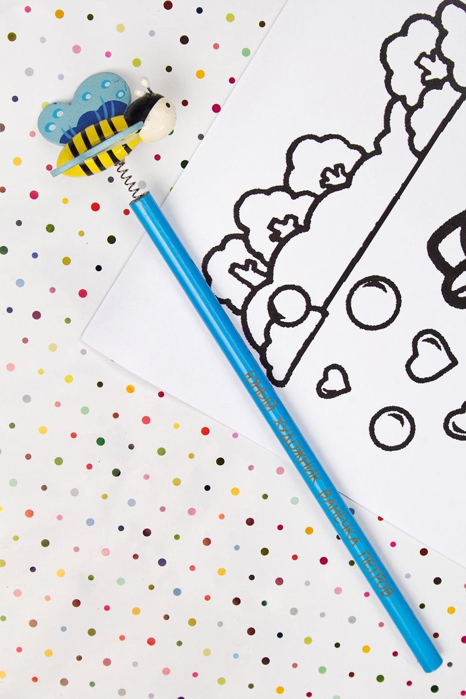Карандаш с Вашим именем ПчелкаРучки и карандаши<br>Именной карандаш с весёлой игрушкой - достойный подарок юному художнику. Дерево, синий<br>
