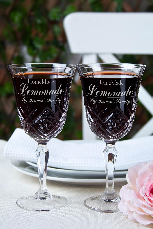 Набор бокалов с именной гравировкой Homemade LemonadeПосуда<br>Набор бокалов для вина с персональной гравировкой, 2-предм., 180мл, Выс=16.5см, хруст. стекло<br>