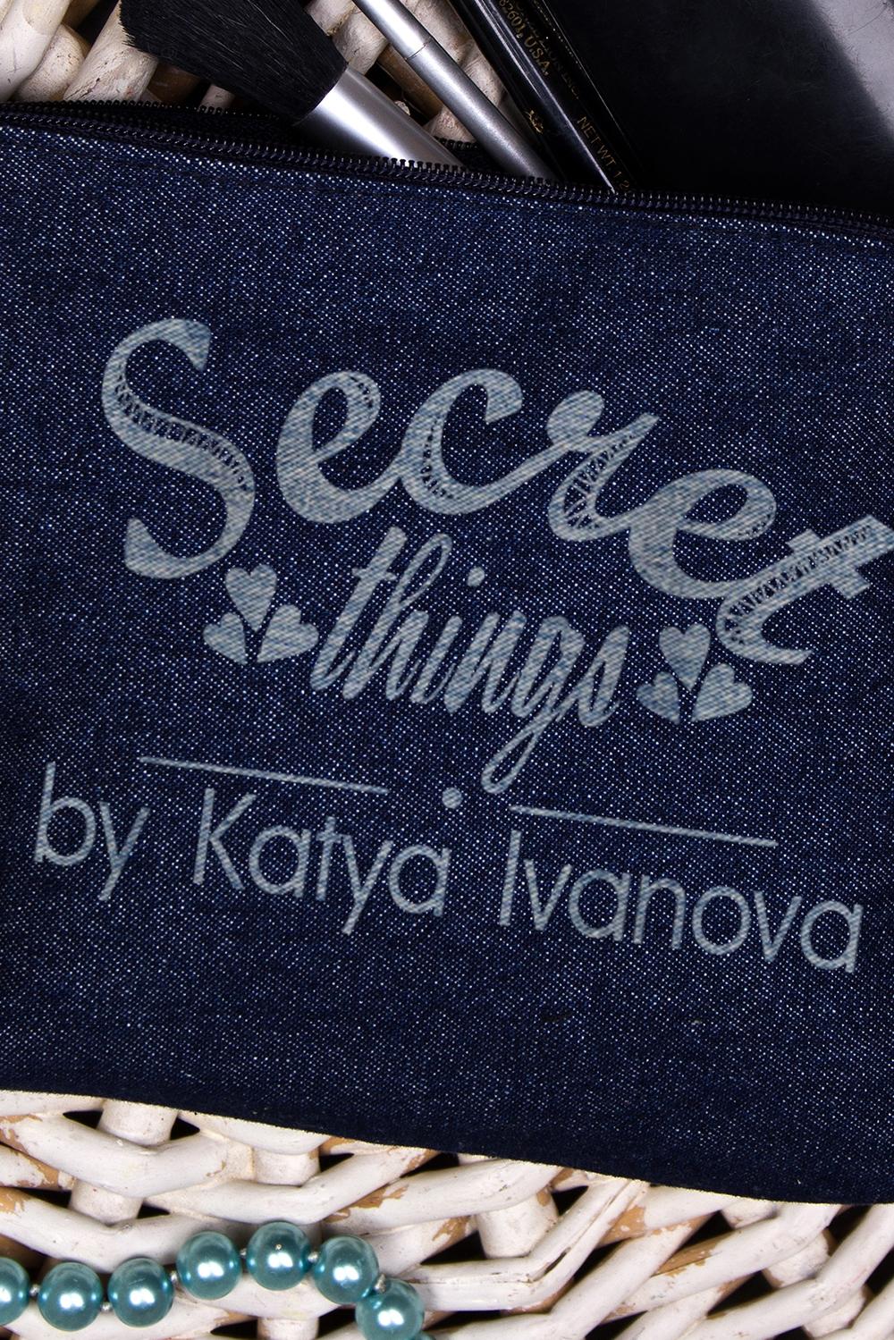 """Косметичка джинсовая с Вашим именем """"Secret things"""""""