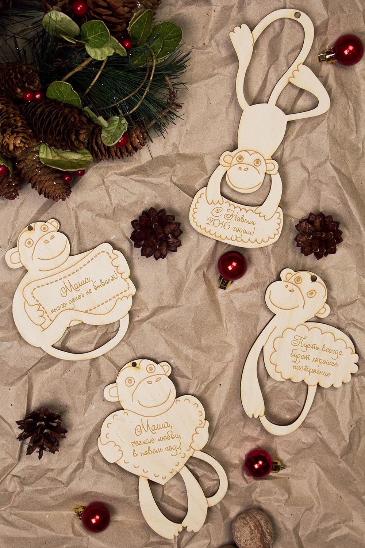 Набор елочных украшений ОбезьянкиЕлочные игрушки<br>4-предм., Выс=10см, дерево, с нанесением текста<br>