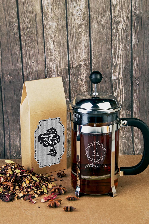 Набор для чая подарочный с Вашим текстом НезнакомкаЧайные наборы<br>Набор подарочный: Чай черный 100гр, чайник френч-пресс с нанесением текста<br>