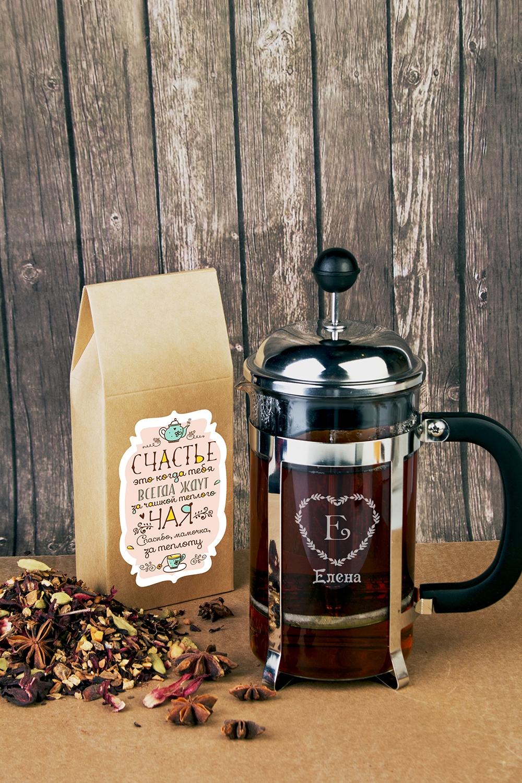 Набор для чая подарочный с Вашим текстом ТеплотаЧайные наборы<br>Набор подарочный: Чай черный 100гр, чайник френч-пресс с нанесением текста<br>