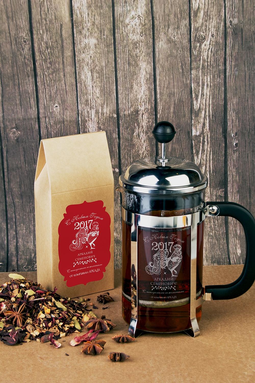 Набор для чая подарочный с Вашим текстом Узорный петухПодарки<br>Набор подарочный: Чай черный фруктовый «Глинтвейн» 100гр, 2 бокала для глинтвейна, с нанесением текста<br>