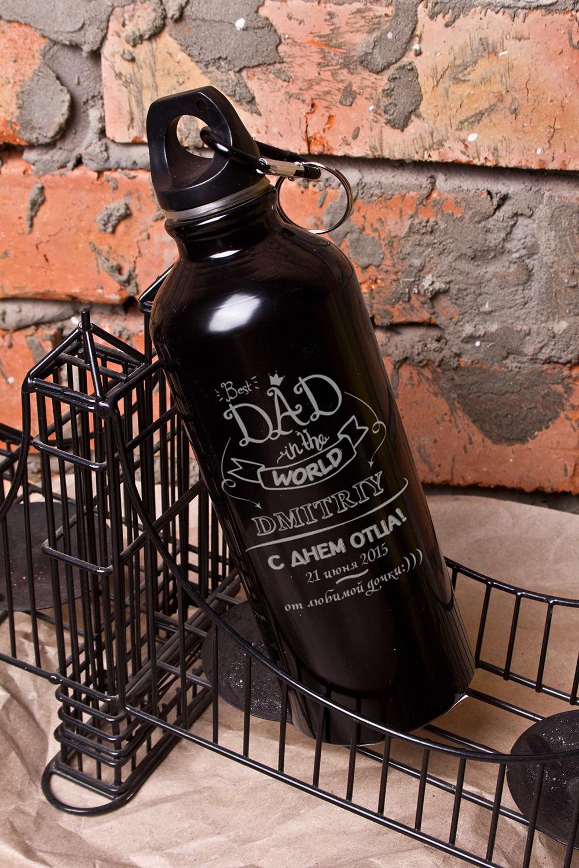 Фляжка для напитков с Вашим текстом Best dadДача и Путешествия<br>Фляжка именная, 500мл, цвет: черный, материал: сталь<br>