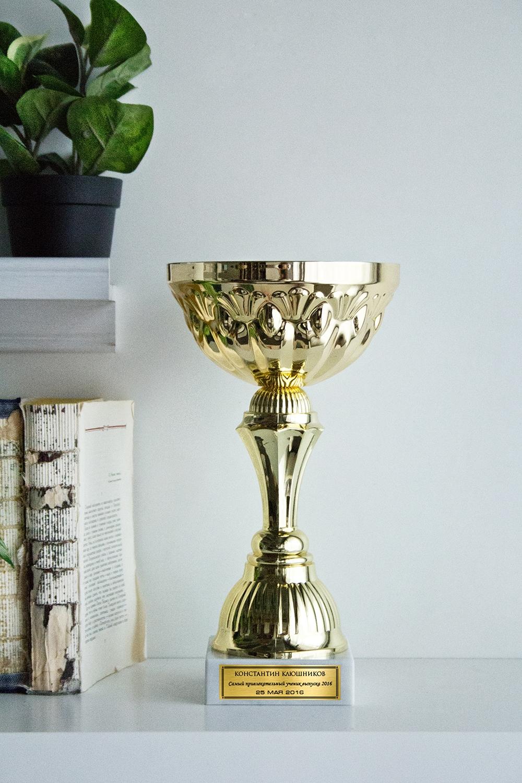 Кубок с именной гравировкой ЛучшемуСувениры и упаковка<br>Кубок с именной гравировкой. Высота 28 см. Диаметр 16см. Материал - пластик, металл, камень. Цвет - Золото.<br>