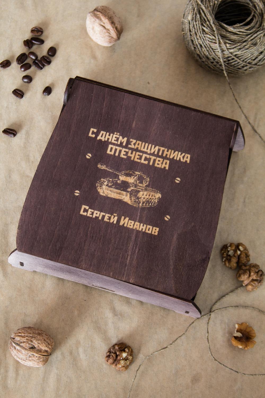 Подарочный набор кофе и орехи СССРПодарки<br>Набор с кофе и грецким орехом, 3 предмета (кофе в зернах Арабика: 100г, грецкий орех: 100гр, подарочная коробка с Вашим текстом)<br>