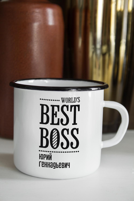 Эмалированная кружка с именной гравировкой  Best Boss  - артикул:2f1ff4