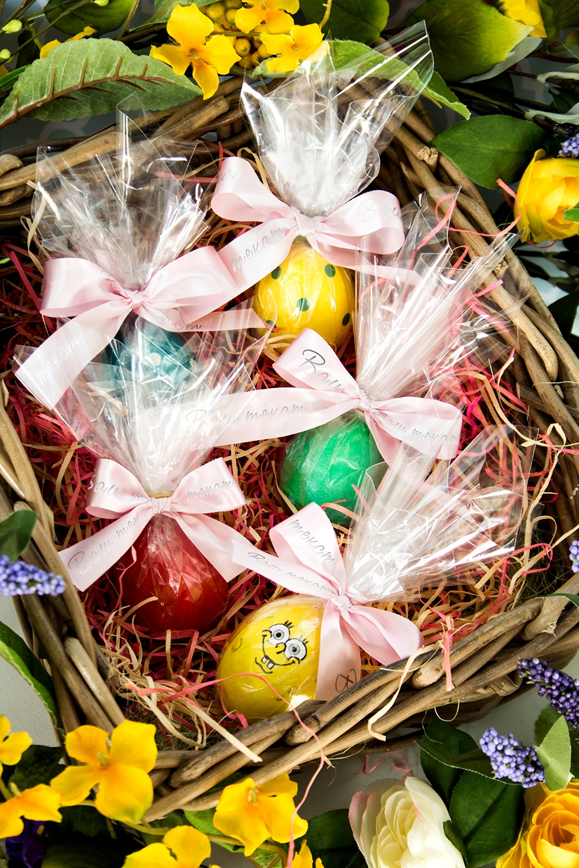 Пасхальный набор с Вашим текстом ИменнойПодарочные наборы<br>Набор пасхальный для упаковки яиц. Пленка прозрачная, 25*25см – 5 шт.,  розовая упаковочная лента с Вашим текстом, 2*40см, сатин – 5 шт.<br>