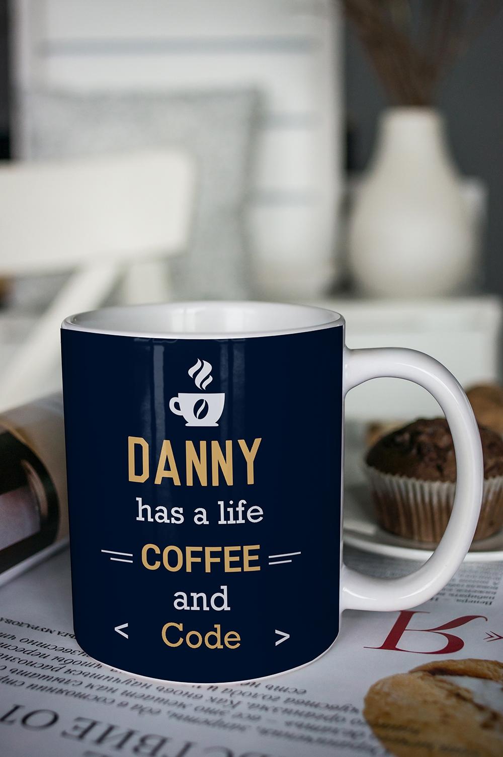 Кружка с вашим текстом Life and coffeeПосуда<br>Кружка с именем и эксклюзивным оформлением -стильный, красивый и оригинальный подарок для себя и друзей! Выберите понравившийся дизайн при помощи нашего конструктора, впишите имя и надпись – вот и готов незабываемый подарок! Размер: 310мл, Выс=9.5см. Материал: керамика<br>