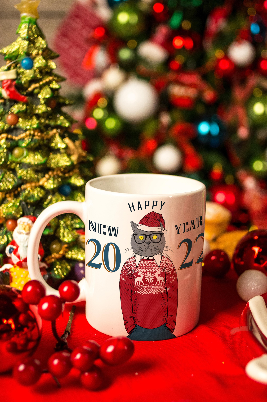 Кружка новогодняя с вашим текстом Новогодние хипстерыПосуда<br>Размер: 310мл, Выс=9.5см. Материал: керамика<br>