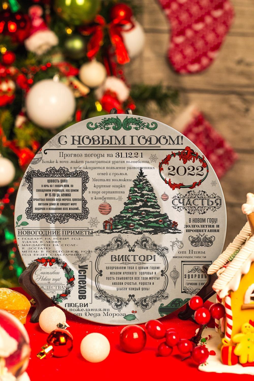 Тарелка декоративная с вашим текстом Новогодние вестиТарелки и пиалы<br>Диаметр 20см<br>