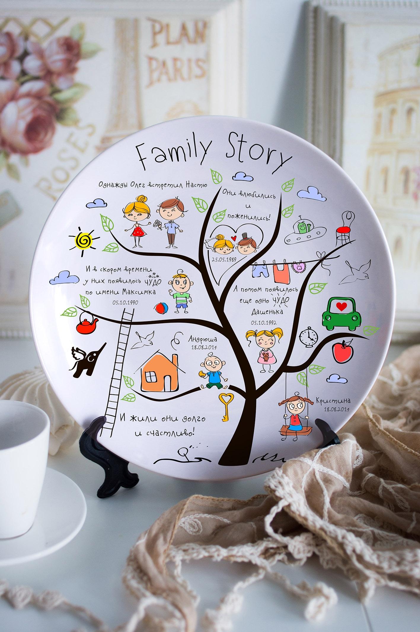 Тарелка декоративная с вашим текстом Family  StoryТарелки и пиалы<br>Подарите необыкновенный сувенир с индивидуальной надписью и именем – такая декоративная тарелка станет эксклюзивным украшением для интерьера и незабываемым подарком! Выберите понравившийся фон, впишите любимую фразу, имя получателя. Диаметр 20см<br>