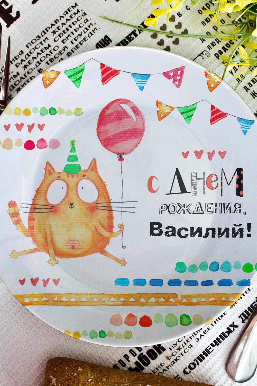 "Тарелка декоративная с вашим текстом ""Котейка"""