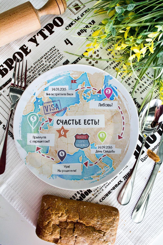 Тарелка декоративная с вашим текстом ПутешествиеПосуда<br>Тарелка диаметром 20см с Вашим текстом<br>