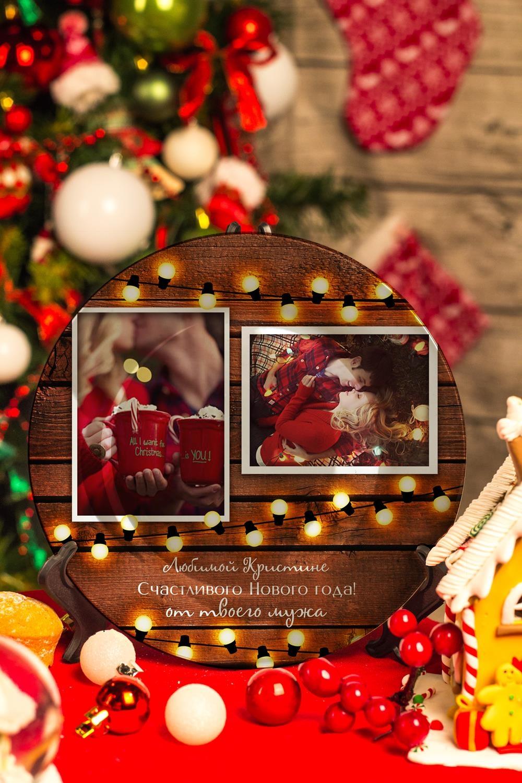 Новогодняя тарелка декоративная с вашим текстом Теплые пожеланияТарелки и блюда<br>Тарелка диаметром 20см с Вашим текстом<br>