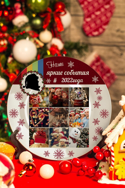 Тарелка декоративная с вашим текстом Новогодний инстаграмПосуда<br>Тарелка диаметром 20см с Вашим текстом<br>