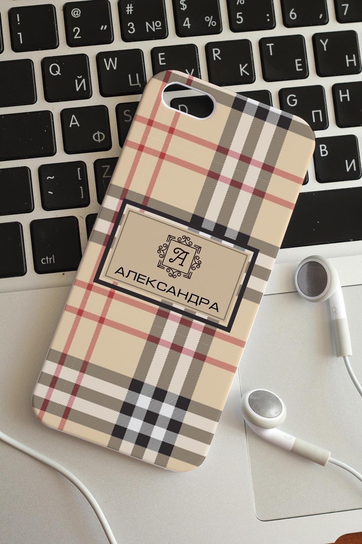 """Чехол для iphone 5/5S с вашим текстом """"Шотландская клетка"""" - 1"""