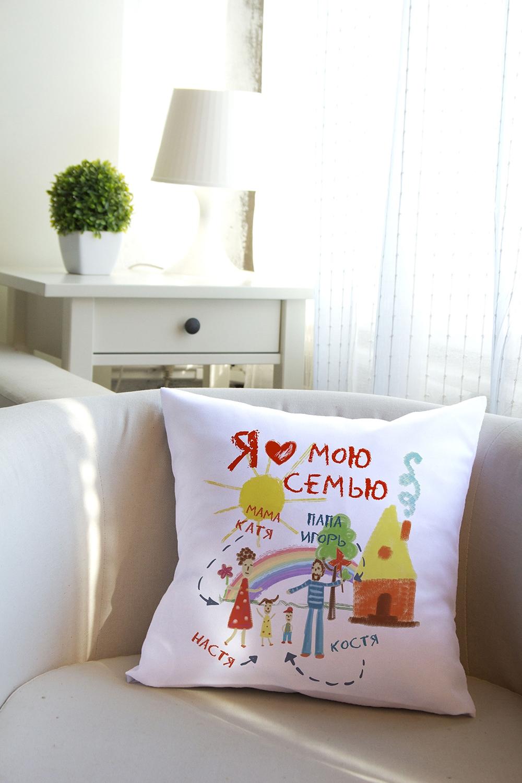 Подушка декоративная с Вашим именем Моя семьяДекоративные подушки<br>Подушка декоративная, 35*35см, текстиль, с нанесением персонального текста<br>