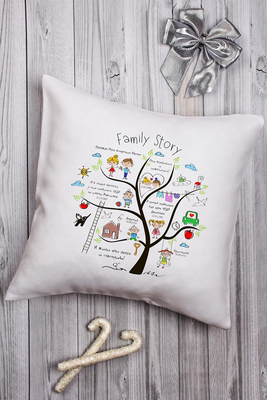 Подушка декоративная с Вашим именем Family StoryПодарки ко дню рождения<br>Подушка декоративная, 35*35см, габардин, с нанесением персонального текста<br>