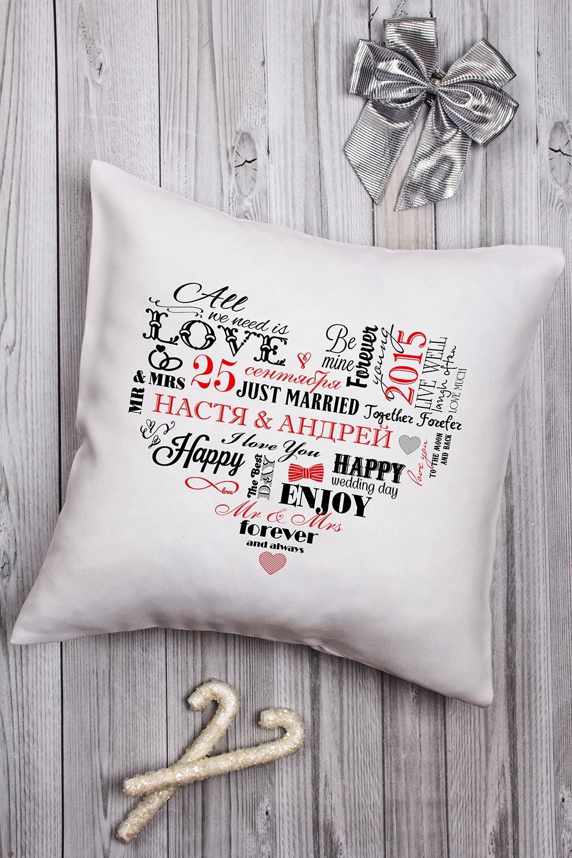 Подушка декоративная с Вашим именем Сердце влюбленных подушка декоративная с вашим именем магазин любви