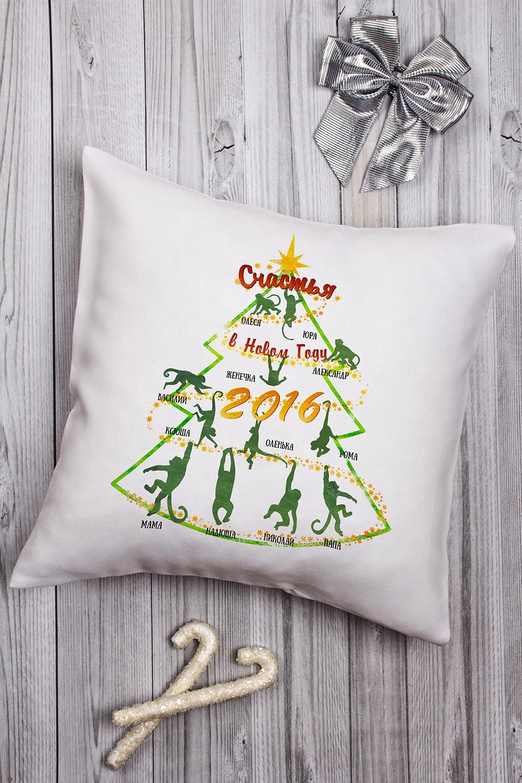 Подушка декоративная с Вашим именем Новогоднее семейное древоДекоративные подушки<br>Подушка декоративная, 35*35см, текстиль, с нанесением текста<br>