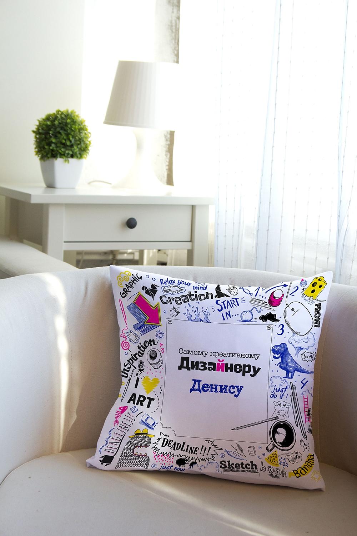Подушка декоративная с Вашим именем СкетчбукИнтерьер<br>Подушка декоративная, 35*35см, габардин, с нанесением персонального текста<br>