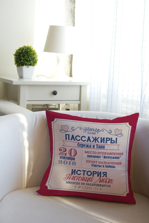 Подушка декоративная с Вашим именем Рэтро билетДекоративные подушки<br>Подушка декоративная, 35*35см, текстиль, с нанесением персонального текста<br>