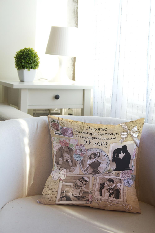 Подушка декоративная с Вашим именем Shabby ChicДекоративные подушки<br>Подушка декоративная, 35*35см, габардин, с нанесением персонального текста<br>